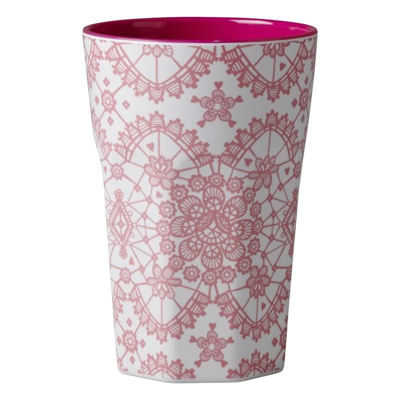 Rice Melamine Two Tone Tall Cup with Coral Lace Print