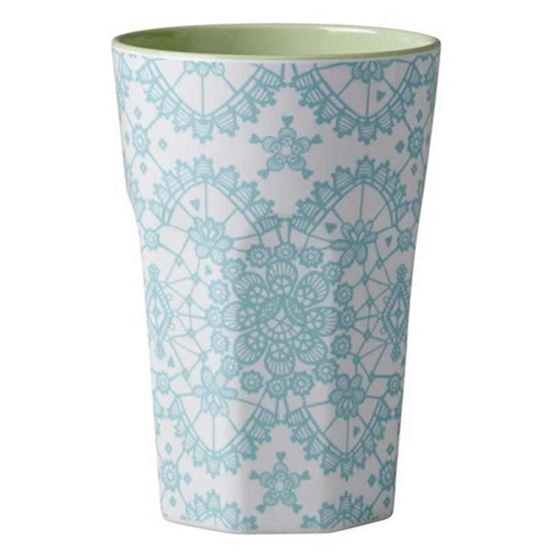 Rice Melamine Two Tone Tall Cup with Mint Lace Print