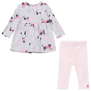 Tom Joule Girls Clothing sets Grey Grey Cat Print Jersey Dress and Leggings Set